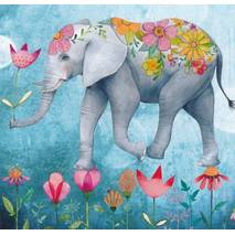 Elefant with Flowers - Mila Marquis Postcard