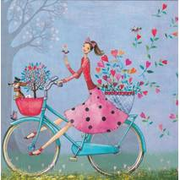 Fröhliche Fahrradtour - Mila Marquis Postkarte