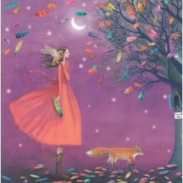 Frau im nächtlichen Federnregen - Mila Marquis Postkarte
