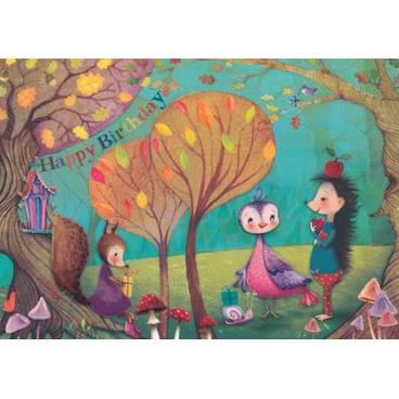 Happy Birthday Tiergeburtstag - Mila Marquis Postkarte