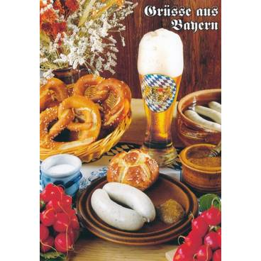 Bayrische Weißwurst Brotzeit - Ansichtskarte