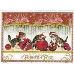 Drei Katzen - Tausendschön - Weihnachtspostkarte