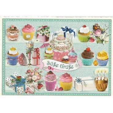 Süße Grüße - Muffins - Tausendschön - Postkarte