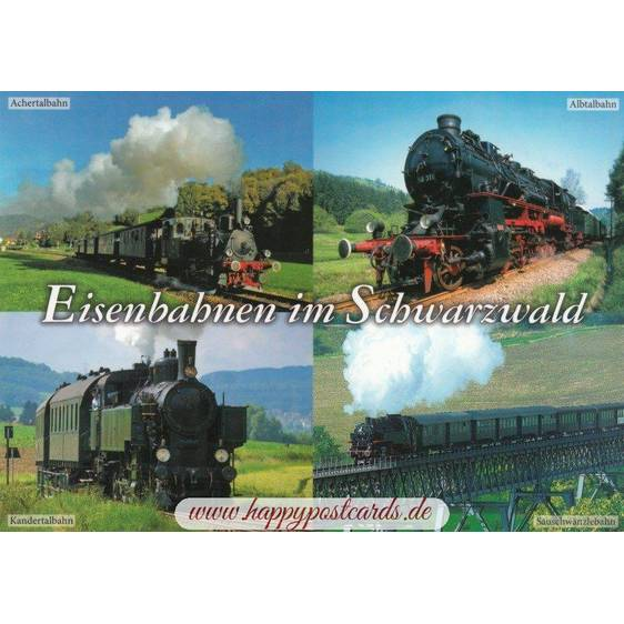 Trains in the Black Forest - Viewcard