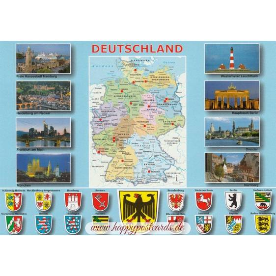 Germany - map and emblems - Viewcard