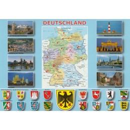Deutschland - Karte und Wappen - Ansichtskarte