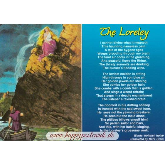 Loreley - poem by Heine engl. - Viewcard