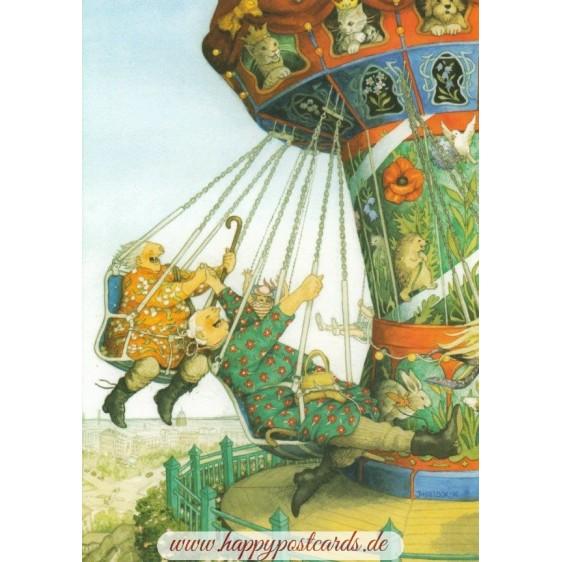 52 - Frauen fahren Kettenkarussell - Postkarte