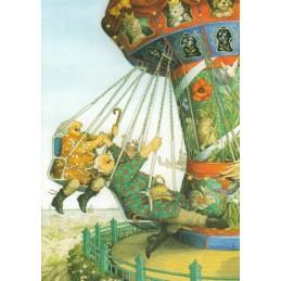 52 - Old Ladies on a carousel - Postcard