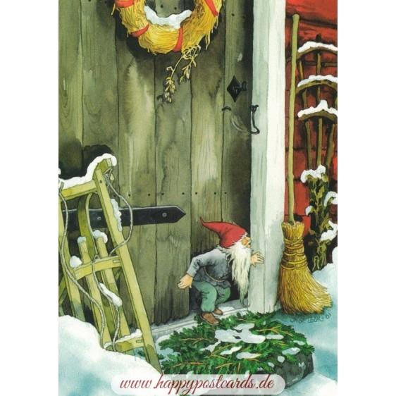 216 - Zwerg vor der Haustüre - Postkarte