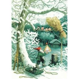 217 - Dwarf and birds - postcard