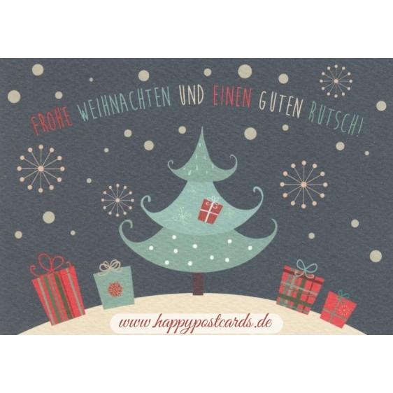 Frohe Weihnachten: Tannenbaum und Geschenke - Postkarte