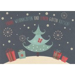 Frohe Weihnachten: Tannenbaum und Geschenke - Weihnachtspostkarte