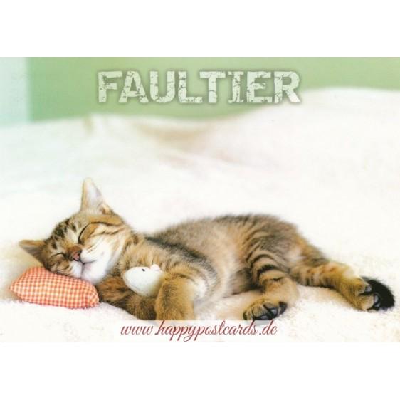 Katze - Faultier - Ansichtskarte
