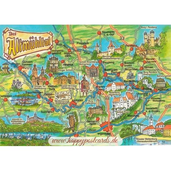 Altmühltal - Map - Postkarte