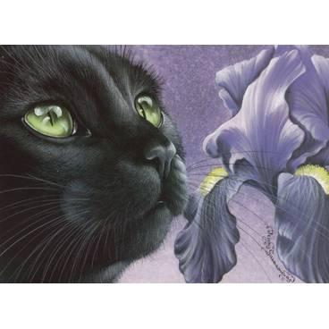 Dunkle Iris - Garmashova Postkarte