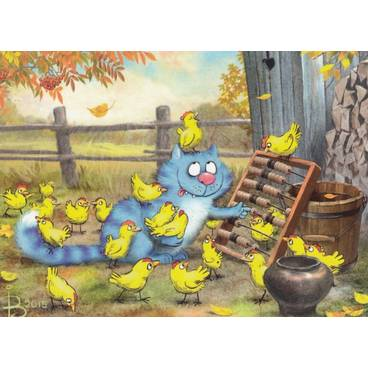 September - Blaue Katzen - Postkarte