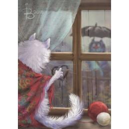 Postal Love Story - Blue Cats - Postcard