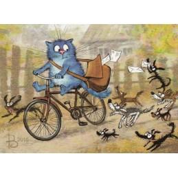 Express Mail - Blaue Katzen - Postkarte