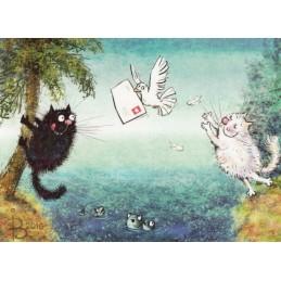 Liebesbrief - Blaue Katzen - Postkarte