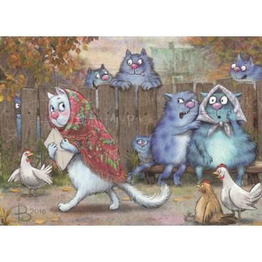 Postromanze - Briefe - Blaue Katzen - Postkarte