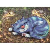 Fairy Cats - Blue Cats - Postcard