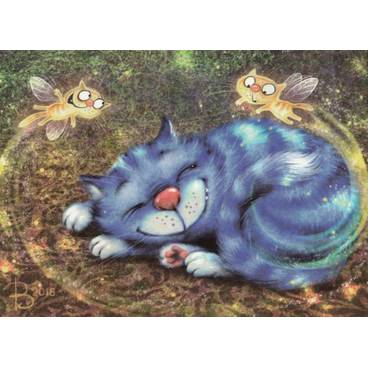 Katzenfeen - Blaue Katzen - Postkarte