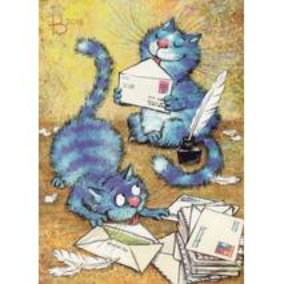 Postcrosser's Day - Blue Cats - Postcard