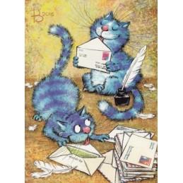 Postcrossertag - Blaue Katzen - Postkarte