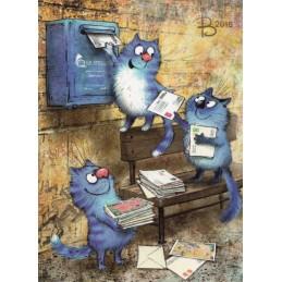 Postcrossing Meetup - Blaue Katzen - Postkarte
