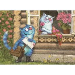 Postromanze Postbote - Blaue Katzen - Postkarte