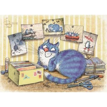 Sammler - Blaue Katzen - Postkarte