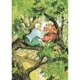 8 - Old Ladies on tree - Postcard