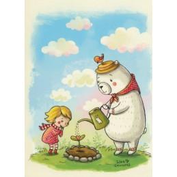 Iya and Yan with a little flower - Smirnova - Postcard