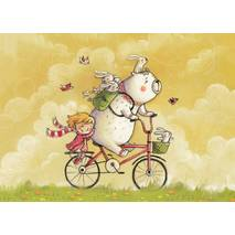 Iya and Yan with a bicycle - Smirnova - Postcard