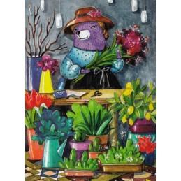 Bär mit Blumen - Fefelova - Postkarte