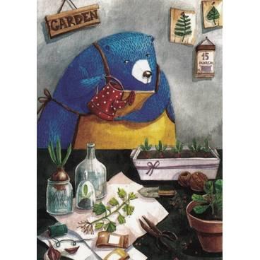 Bär beim Pflanzen - Fefelova - Postkarte