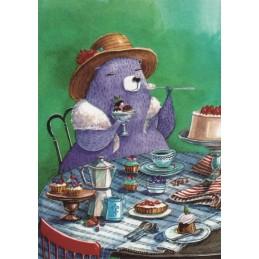 Bär beim Essen - Fefelova - Postkarte