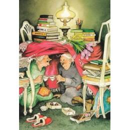 10 - Frauen beim Teetrinken unter Tisch - Postkarte