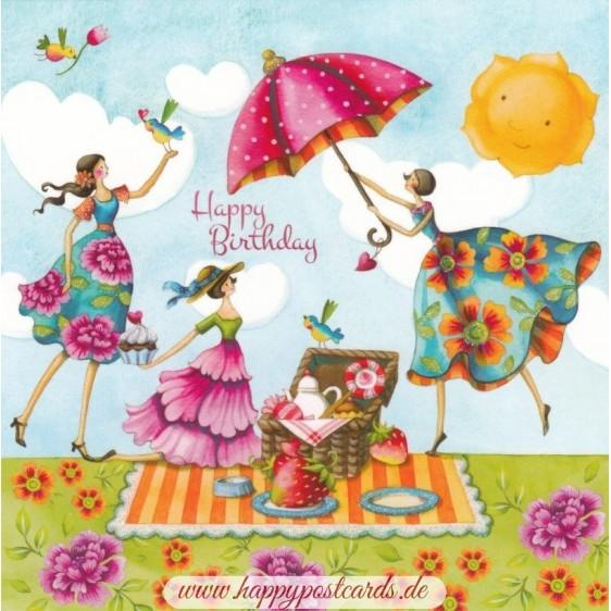 Happy Birthday - Picknick - Nina Chen Postkarte
