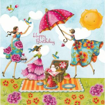 Postcards Nina Chen Happy Birthday Picnic Nina Chen Postcard
