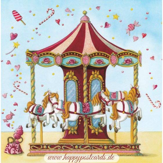 Carousel with horses - Nina Chen Postcard
