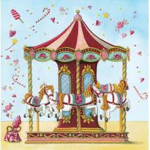 Carousel with horses - Nina Chen Postcard