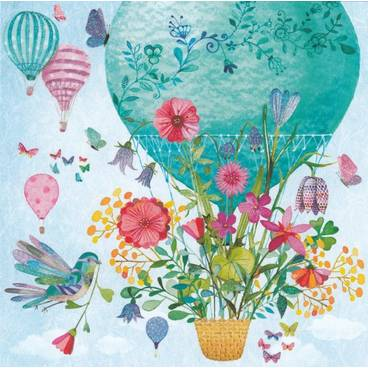 Heißluftballon mit Blumen - Mila Marquis Postkarte