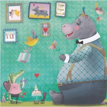 Hippo Geburtstag - Mila Marquis Postkarte