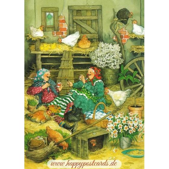 41 - Frauen bei den Hühnern - Postkarte
