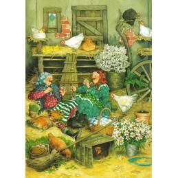 41 - Frauen bei den Hühnern -Löök Postkarte