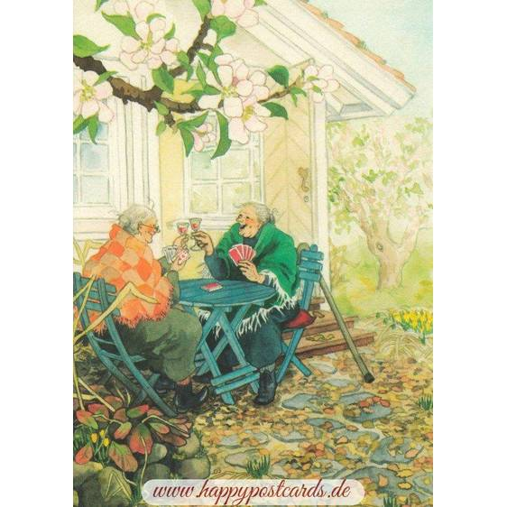 04 - Old Ladies playing cards - Postcard