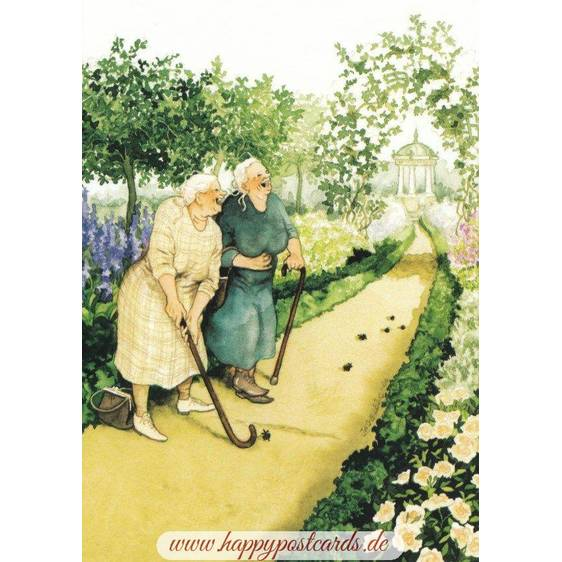 06 - Old Ladies playing miniature golf - Postcard