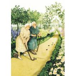 06 - Frauen beim Minigolfen mit Spazierstöcken - Löök Postkarte